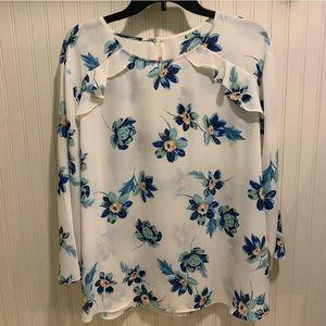Van Heusen ruffle trim floral blouse
